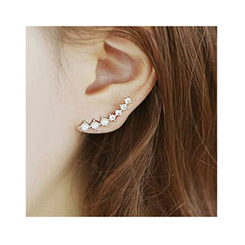 ing Silver 7 Crystals Clip On Ears Climber Earrings for Women Crawler Earrings Cuff (Yellow Gold) ()