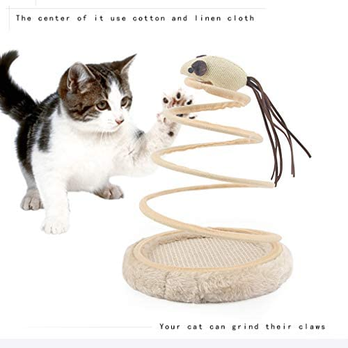 Andiker Interactive Cat Toy, Cat Plush Toy with Spiral Spring Plate and Funny Ball or Mouse Interactive Stainless Steel Spring Rotating Cat Creative Toy to Kill time and Keep Fit 4