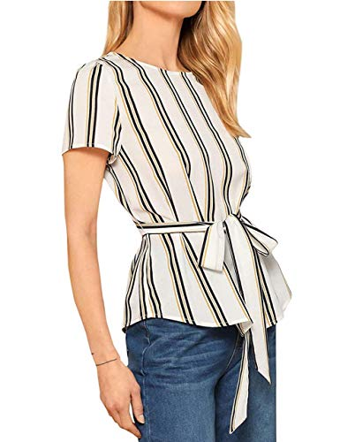 Milumia Women's Casual Round Neck Short Sleeve Stripe Waist Belted Top Blouse White ()
