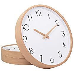 TXL Wall Clock Wood 12 Silent Large Wood Wall Clocks Digital Wall Clock Non Ticking for Night Table Kitchen Office Vintage Home Decor (1)