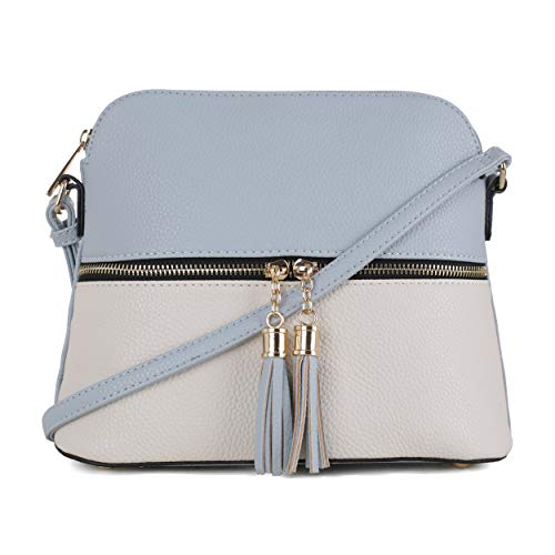 (SG SUGU Lightweight Medium Dome Crossbody Bag with Tassel | Zipper Pocket | Adjustable Strap (Blue/Ivory))