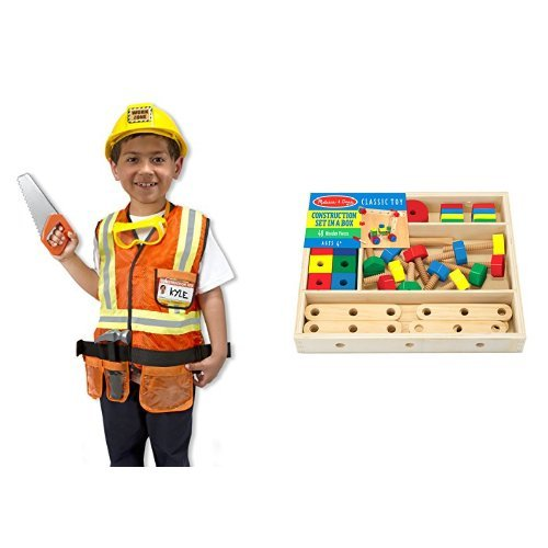 Construction Worker Tool Belt Costume (Melissa & Doug Construction Role Play & Set in a box Bundle)
