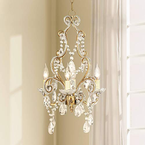Leila 11 Wide Antique Gold Beaded Plug-in Swag Chandelier