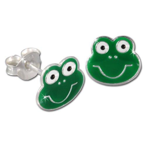 Tee-wee boucles d'oreilles pour enfant en argent sterling 925 en forme de grenouille vert boucles d'sDO8111G