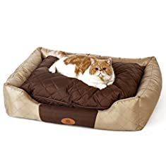 PLS Pet Royal All Seasons Bolster Pet Bed, Waterproof Oxford Fabric, Cooler for Summertime, Modern Design, Easy-clean, Removable Covers, Luxurious Style