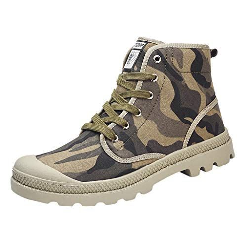 Sherostore ♡ Boy Men's Hight Top Lace Up Sneakers Canvas Casual High-Top Skate Shoes, Comfortable and Durable Sneaker Camouflage