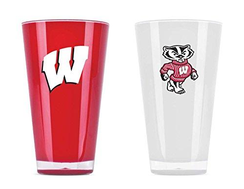 NCAA Wisconsin Badgers 20oz Insulated Acrylic Tumbler Set of 2