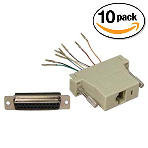 InstallerParts (10 Pack) DB25 Female to RJ45 Modular Adapter Ivory (8 Way Modular Adapter)