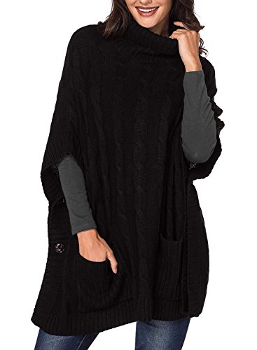 Tunic Asymetrical (Elapsy Womens Ladies Knit Turtleneck Batwing Sleeve Casual Warm Pockets Style Tunic Poncho Pullover Sweater Oversize Black)