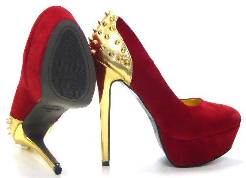 Schuh-City Sky Heels Stiletto Damen Schuhe High Fashion Pumps rot 36