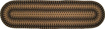 Braided Ebony Collection Natural Jute Runner Black Tan Country Primitive Farmhouse Décor