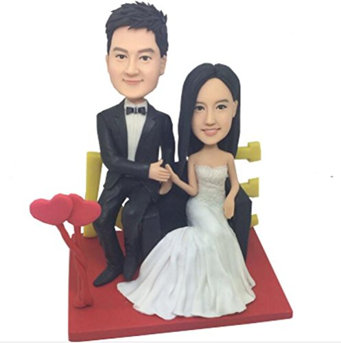 Custom Create Your Own Deeply in Love Wedding Bobble head Polymer Clay Handmade Bobbleheads Cake Toppers by MiniBobbleheads