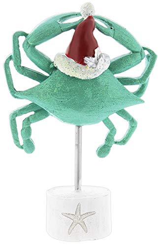 Festive Teal Crab Figurine with Base & Santa Hat 9.5