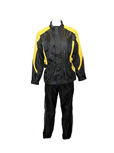 RoadDog 2 Piece Stay-Dry Motorcycle Rain Suit Waterproof Adult Unisex Yellow Sm