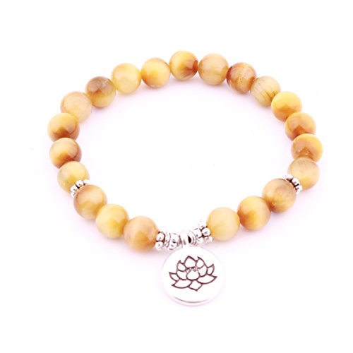 GVUSMIL Natural Gemstone Mala 21 Beads Bracelet for Women and Men Yoga Pray Health Energy Prayer Meditation made by Yellow - Jade Beads Made Prayer
