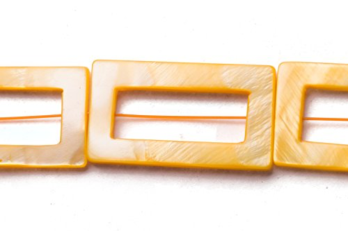- Yellow Mother-Of-Pearl Open Rectangle Shell Beads Size:35x20mm