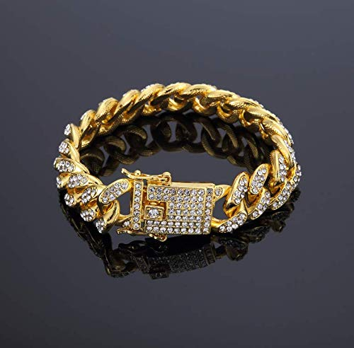 - Naomi Fashion Men's Women's Chain Hiphop Iced Out Curb Cuban Diamond Gold Plated Bracelet Paved Clear Rhinestones