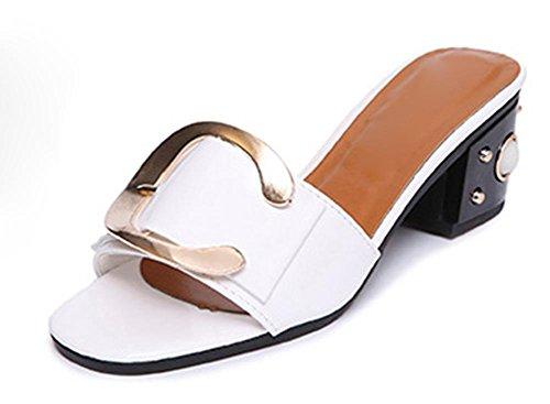 sandalias de verano de espesor con Señora salvaje zapatos de cabeza de pescado sandalias de perlas blanco