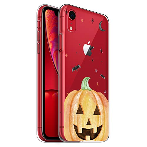 HelloGiftify iPhone XR Case, Halloween Bat and Pumpkin TPU Soft Gel Protective Case for iPhone XR ()