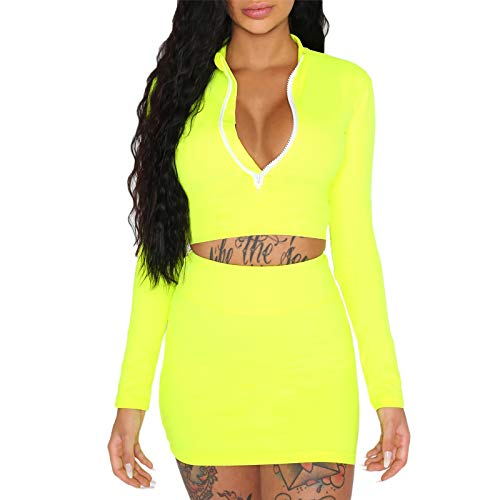 ALERDON Women's Sexy Front Zipper Long Sleeve Skinny Crop Top Shorts Two Piece Set Tracksuit (Small, Green Dress) 2 Piece Boutique Outfit