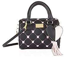 Carry everything you need in style, This Luv Betsey Harlii Mini Barrel Satchel Crossbody Bag Features; PVC bow embroidered body, cheetah sides with furry glitter heart hanging signature keychain, luv betsey logo plate, top zip closure, duel r...
