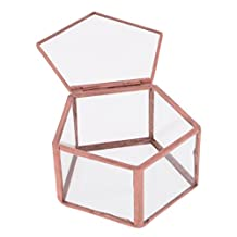 Dovewill Wedding Faceted Glass Geometric Terrarium Jewelry Ring Box Tabletop Planter
