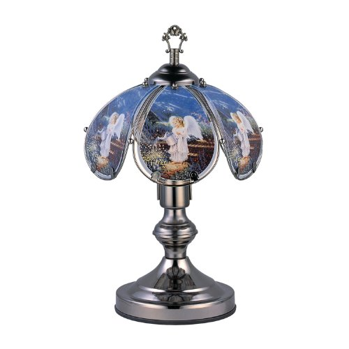 Angel Lamp - OK Lighting OK-603C-AN4 14.25-Inch Touch Lamp with Angel Theme, Black Chrome
