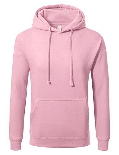 JD Apparel Men's Premium Heavyweight Pullover Hoodie Sweatshirt L Baby Pink Pink Hoodie