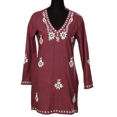 Frauen Maroon Baumwolle Tunika Kleid Blumen bestickt -friseur-murat.de 703014dbe8