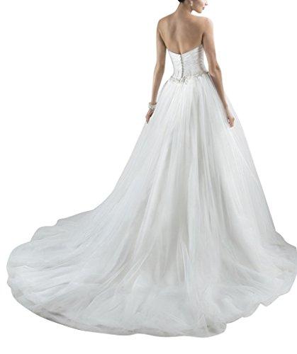 scollo a BRIDE una semplice Avorio Abito in linea sposa tulle linea cuore da GEORGE xHdYqw00