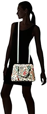 Signare Tapestry Top Handle Handbag with Detachable Strap to Convert to Shoulder Bag in Alice in Wonderland Design (CONV-ALICE)