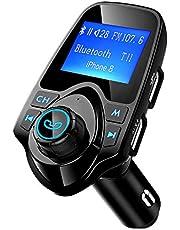 """Mpow Transmetteur FM Bluetooth Kit Voiture Mains Libres sans Fil Adaptateur Radio Chargeur Allume Cigare Voiture Double Port USB Écran 1,44"""" Port d'Entrée ou de Sortie 3,5 mm Soutien Carte TF/Clé USB"""