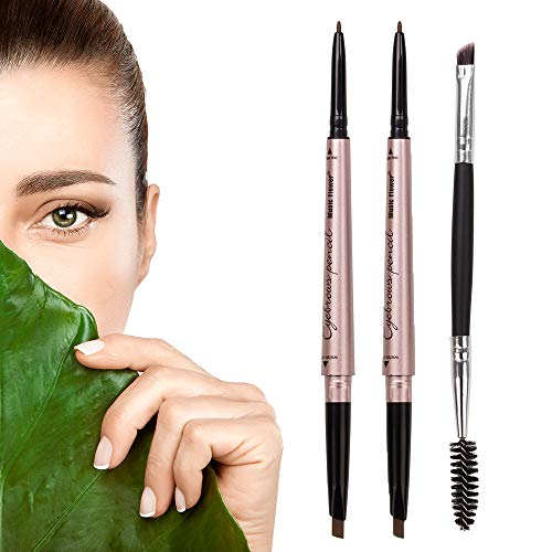 HeyBeauty 2 Pack of Eyebrow Pencil, Waterproof Eyebrow Makeup with Dual Ends, Professional Brow Kit with Eyebrow Brush, Dark Brown (Best Rated Eyebrow Pencil)