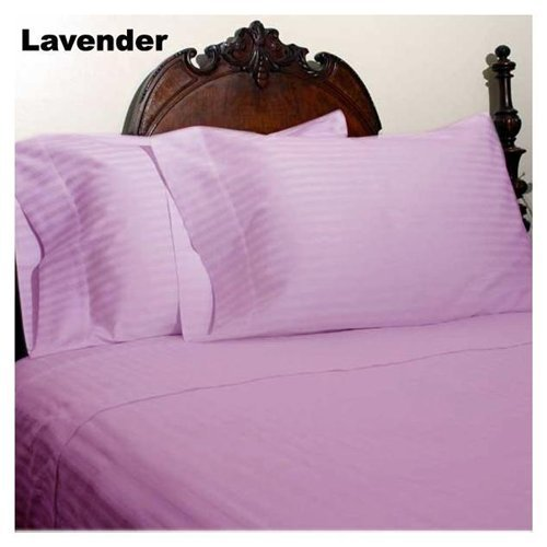 "UPC 888099576091, 600 Thread Count 1 PC Fitted Sheet 100% Egyptian Cotton Stripe Lavender Twin XL 19"" Deep Pocket"