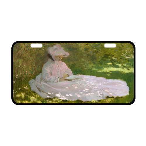 Classic Woman Reading Art By Claude Monet Metal License Plate Frame 11.8