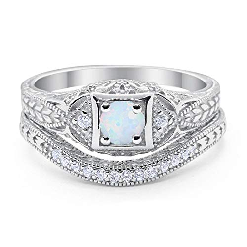 Blue Apple Co. Art Deco Vintage Style Two Piece Wedding Engagement Bridal Set Ring Band Round Creatd White Opal 925 Sterling Silver, Size-6 ()