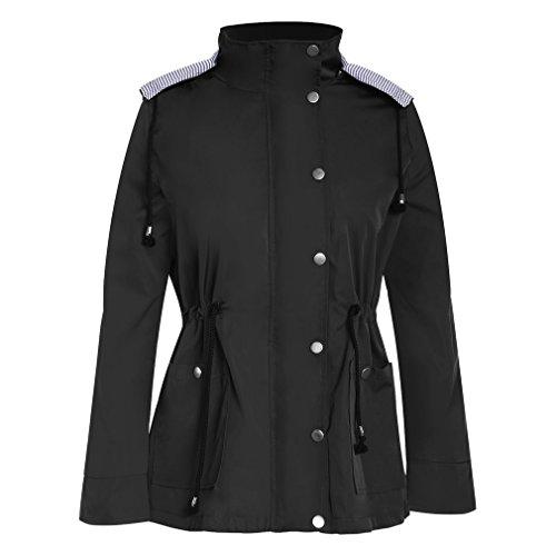 Veste Imperméable Mi-longue à Capuche, Manteau Veste de Pluie pour Femme (Noir S)