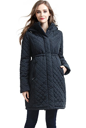 Momo Maternity Prue Quilted Parka Coat - Steel Gray L