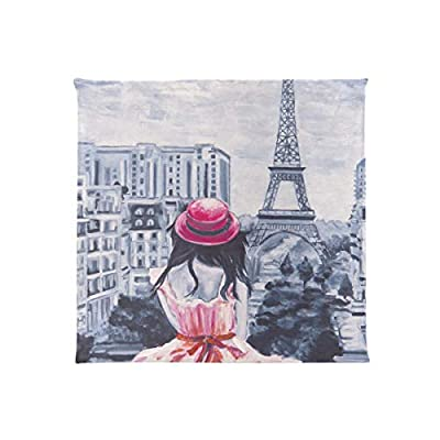 Bardic FICOO Home Patio Chair Cushion Eiffel Tower Girl Painting Square Cushion Non-Slip Memory Foam Outdoor Seat Cushion, 16x16 Inch: Home & Kitchen