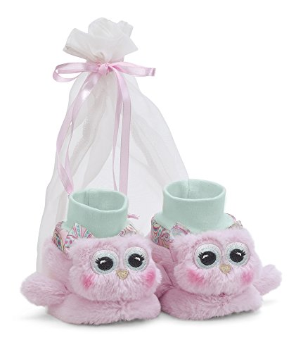 Bearington Baby Lil' Hoots Plush Stuffed Animal Pink Owl Sock Top Slipper Booties ()