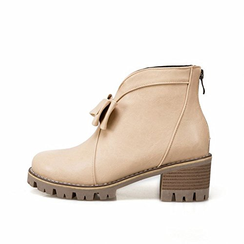 Mee Shoes Women's Fashion Zip Block Heel Bow Upper Short Boots Apricot eqiupR6w9P