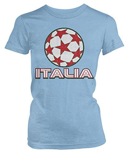 (Amdesco Junior's Italia Soccer, Italy Football, Italian T-Shirt, Light Blue Large)