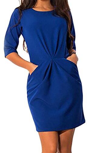 Club Dress Pleated Slim Sleeve Half Blue Mini Casual Cruiize Womens Crewneck wxqX04nzpa
