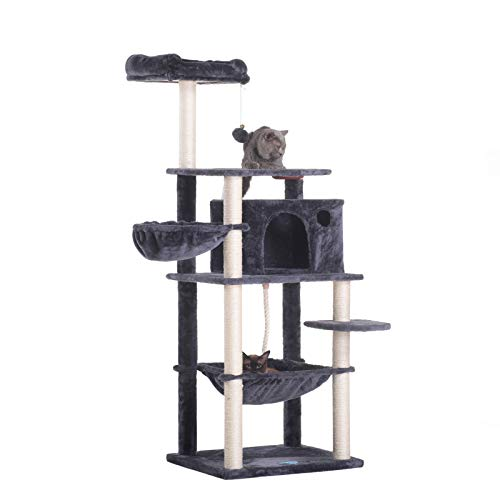 Hey-Brother Extra Big Cat Tree with Feeding Bowl, Cat Condos with Sisal Poles, Hammock and Cave, Padded Platform…