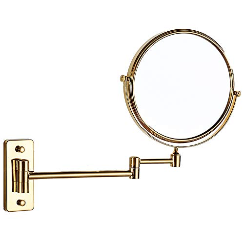 Cavoli 8 Inch Bathroom Two-sided Swivel Wall Mounted Mirror with 10x Magnification,Gold -