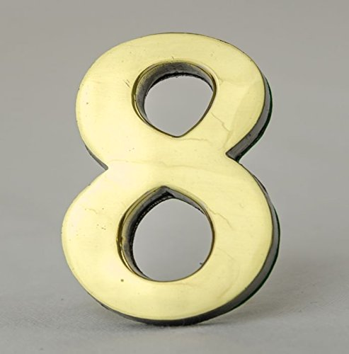 Address Number 8-2 Inch Solid Adhesive Brass Numbers for House, Door, Address Plaque, Mailbox | Satin Metallic Surfaces