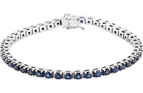 14k White Gold Blue Sapphire Line Bracelet