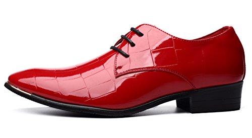 Santimon Scarpe Moda Uomo Scarpe A Punta In Pelle Verniciata Oxford Derby Nero Blu Rosso Rosso