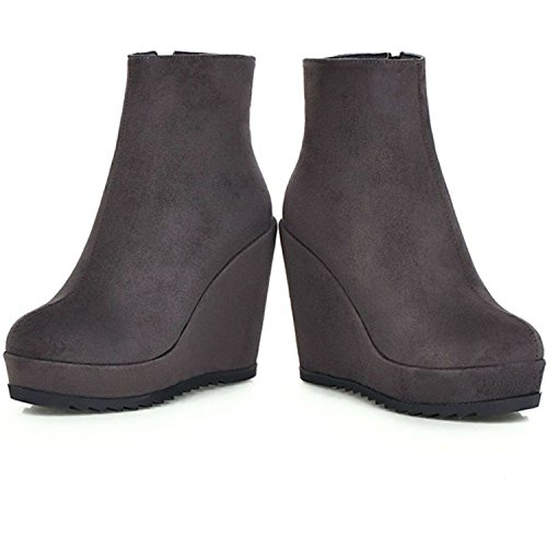 Ankle Wedge Side Zippers Gray Covered Platform Booties KingRover Women's Vegan xUXYqw5P