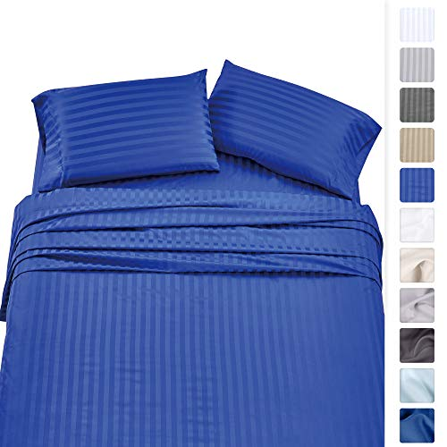 - Premium Quality 500 Thread Count 100% Pure Cotton Sheets - 4-Piece Real Blue Color King Damask Stripe Long-Staple Cotton Sheet Set for Bed, Fits Mattress Upto 18'' Deep Pocket, Sateen Weave Set